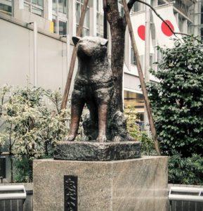 Hachiko-statyn vid ingången till Shibuya-stationen, en populär samlingsplats