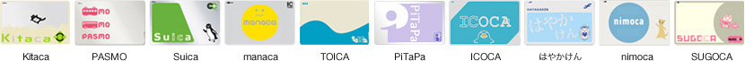 Olika lokala varianter av Suica-kortet
